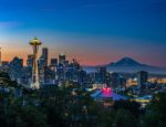 The Seattle skyline at night.