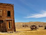 A desert ghost town on a sunny day.