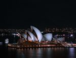 The Sydney Opera House at night.