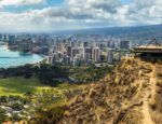 Looking out at the beach from Diamond Head State Monument in Honolulu, Hawaii.