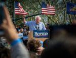 Senator Bernie Sanders speaking at a presidential campaign rally.