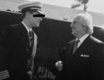 A photo featuring Frank Abagnale on the set of the 2002 film 'Catch Me If You Can.'