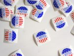 """""""I Voted"""" stickers strewn about."""