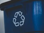 A recycle bin from the front, viewing the recycle symbol.